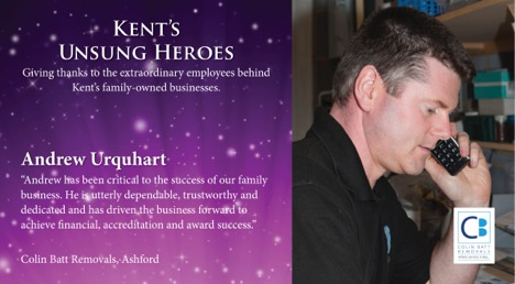 Unsung Hero Award Certificate - Andrew Urquhart Colin BatT Removals